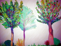 colored pencil trees