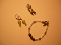 wood and clear beads with green earrings