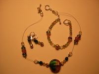 green and brown beads